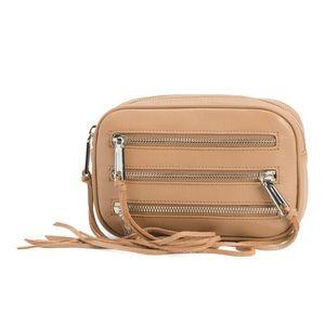 Rebecca Minkoff 3 zip leather bag beige new